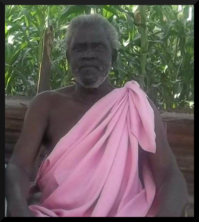 Late Uncle  Angelo Othow Nyikango , in Chollo's traditional dress(Lawo).
